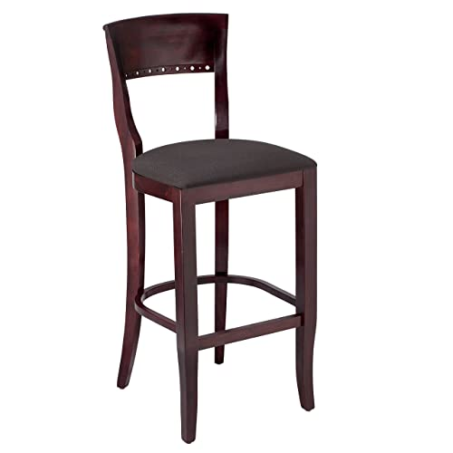 Beechwood Mountain BSD-6B-DM Solid Beech Wood Bar Stool in Dark Mahogany for Kitchen and dining