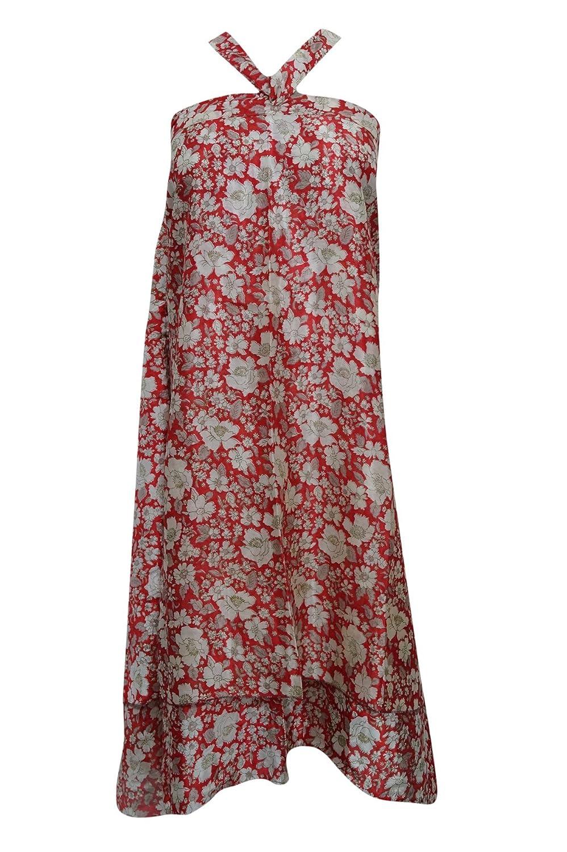 Mogul Interior Magic Wrap Skirt Red Vintage Silk Sari Reversible Long Skirt, Boho Dress