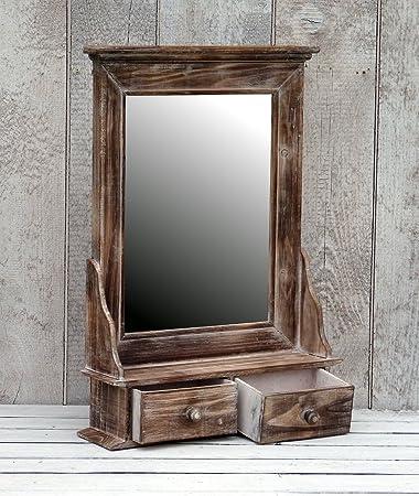 Amadeco Bezaubernder Wandschrank Hängeschrank Küchenschrank Spiegelschrank  Badspiegel Spiegel Wandregal Und 2 Schubladen Braun Landhaus Vintage Shabby