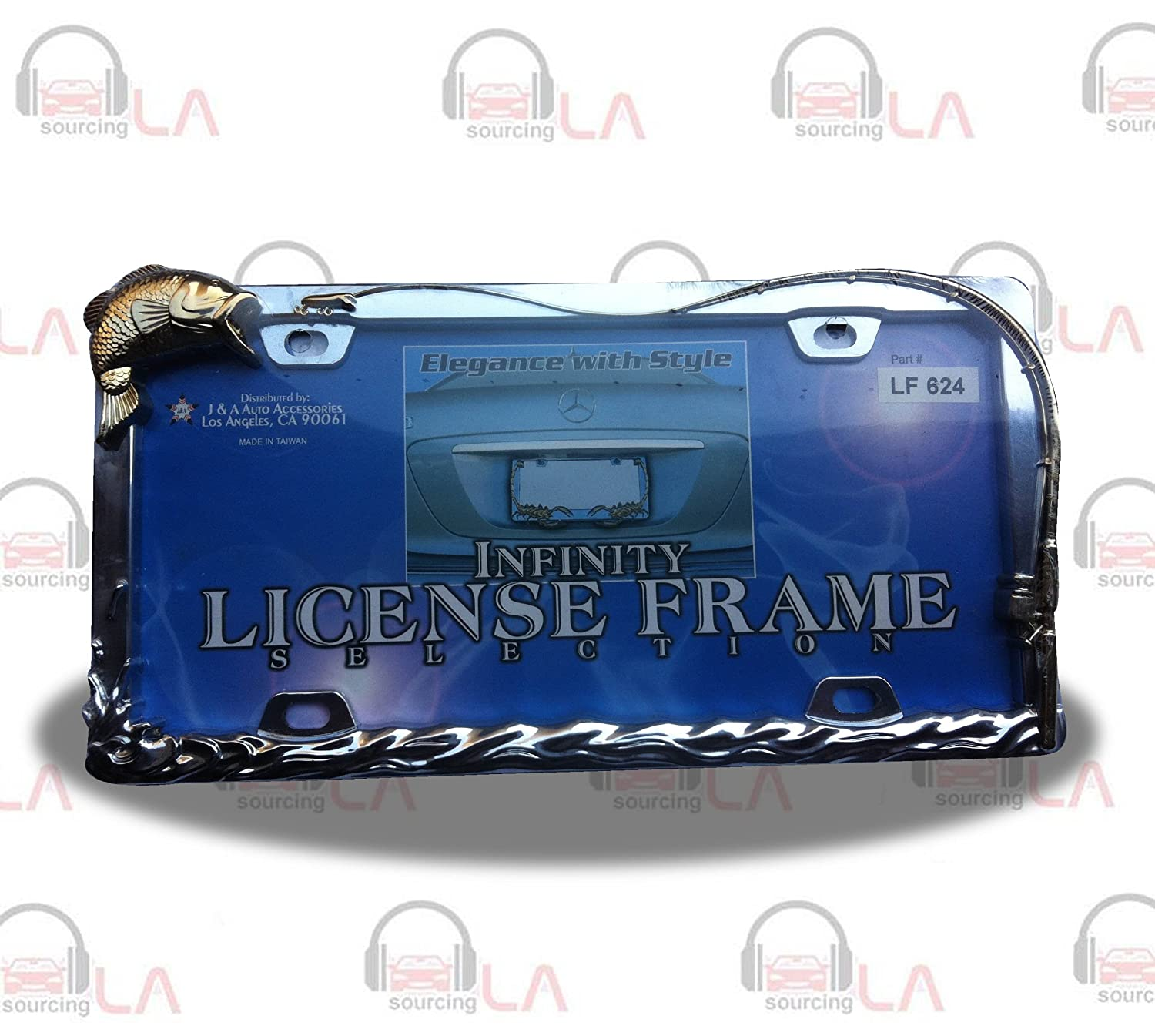 LICENSE PLATE FRAME BASS FISHING CHOME/GOLD