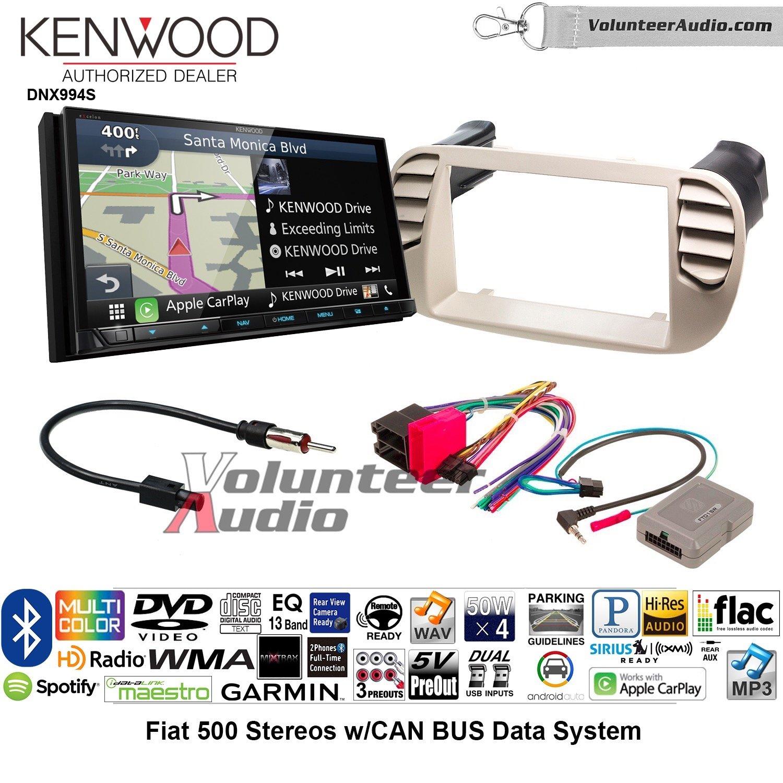 ボランティアオーディオケンウッドExcelon dnx994sダブルDINラジオインストールキットwith GPSナビゲーションApple CarPlay Android自動Fits 2012 – 2015 Fiat 500 (ホワイト) B07BYHTPGT