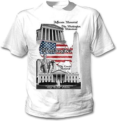 teesquare1st Washington D.C. USA Camiseta Blanca para Hombre de Algodon: Amazon.es: Ropa y accesorios