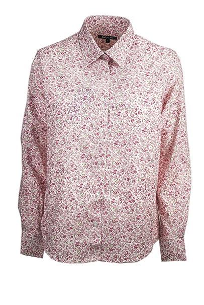 61e2428f45 Lady Law Camicia Donna Classica Fiorellini Rosa su Bianco Cotone Flanella