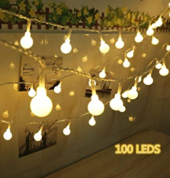 Led Bulb String Lights: 100 LED Globe String Lights, Ball Christmas Lights, Indoor / Outdoor  Decorative Light,,Lighting