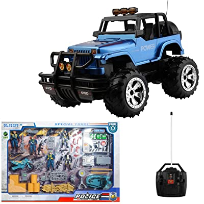 Vangoddy 1:15 Scale Full Function Remote Control Metallic Blue Jeep Bundle with Action Figure Set: Toys & Games