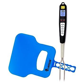 Lantelme 6214 Barbacoa Tenedor termómetro y set de plumero en parrilla – Barbacoa Tenedor termómetro digital