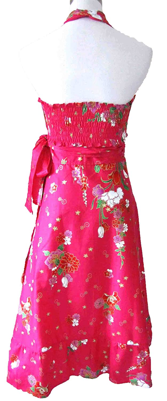 Formal flattering floral halterneck wrap bridesmaid frill dolly prom dress