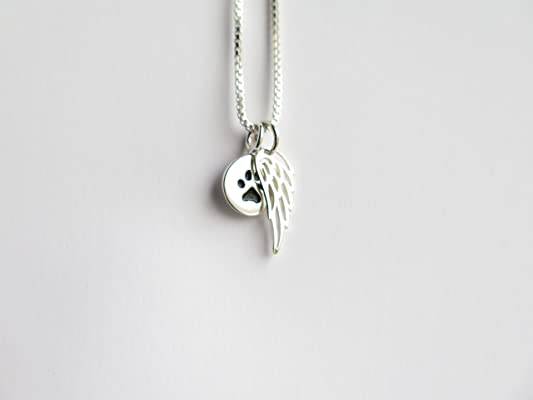 Pet Loss Gift Paw Print Angel Wing Necklace