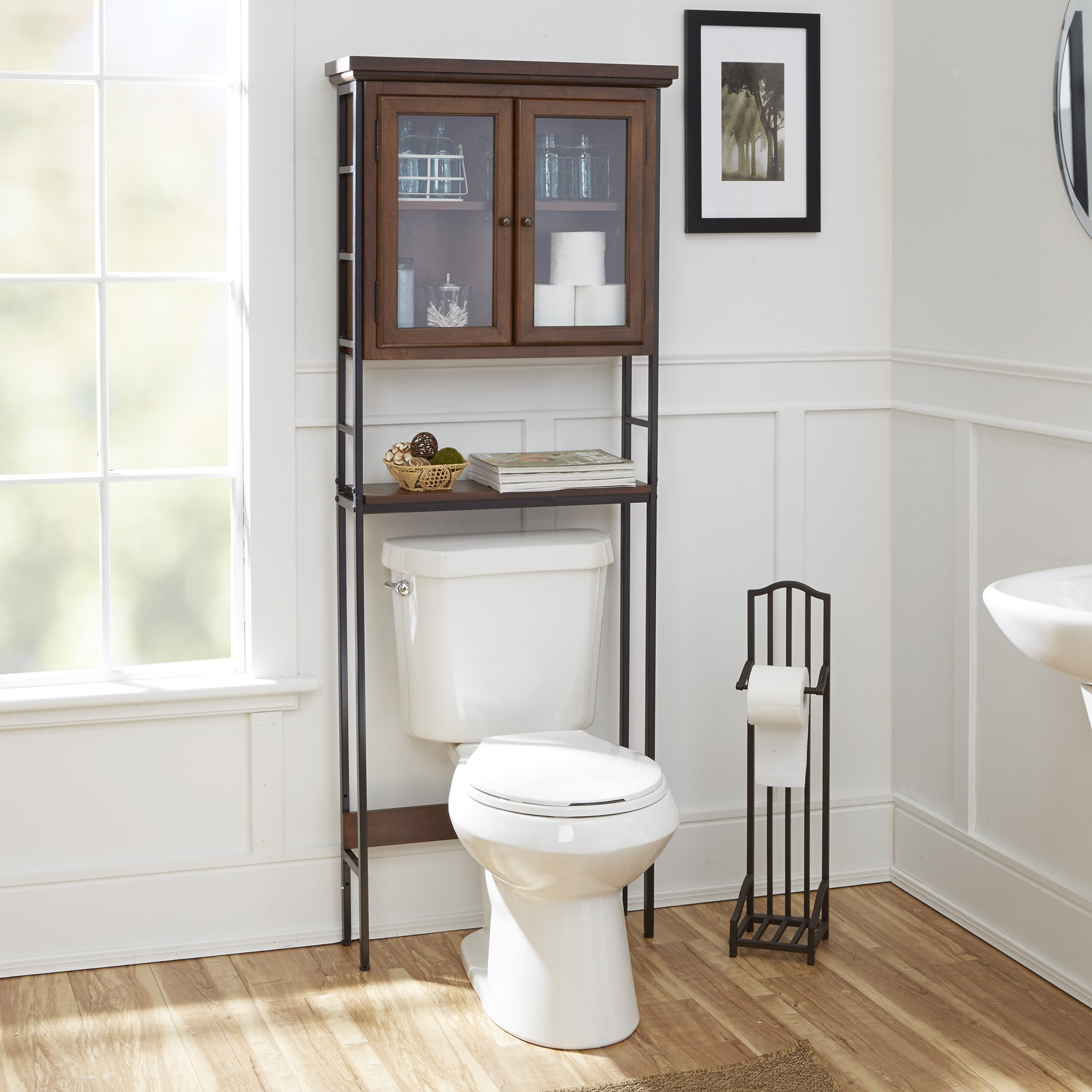Silverwood Leighton Bathroom Collection 3-Tier Space Saver with Glass Doors 3, 67.5'' H by Silverwood (Image #2)