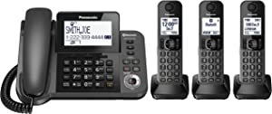 PANASONIC Corded / Cordless Phone with Link2Cell Bluetooth and Answering Machine KX-TGF383M - 3 Handsets (Black)