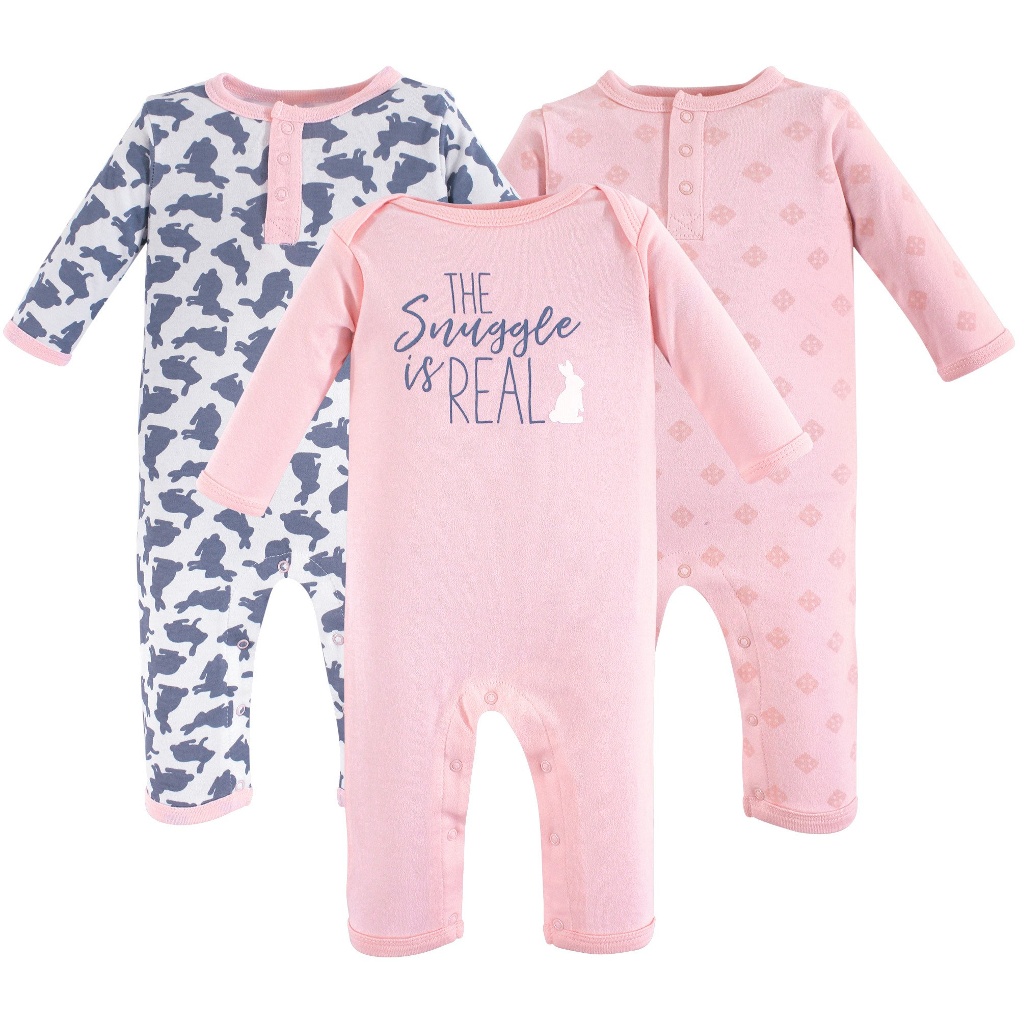Yoga Sprout Baby Cotton Union Suit, Snuggle Bunny