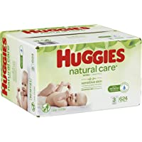 HUGGIES Natural Care Baby Wipes, 3 Packs, 624 Total Wipes