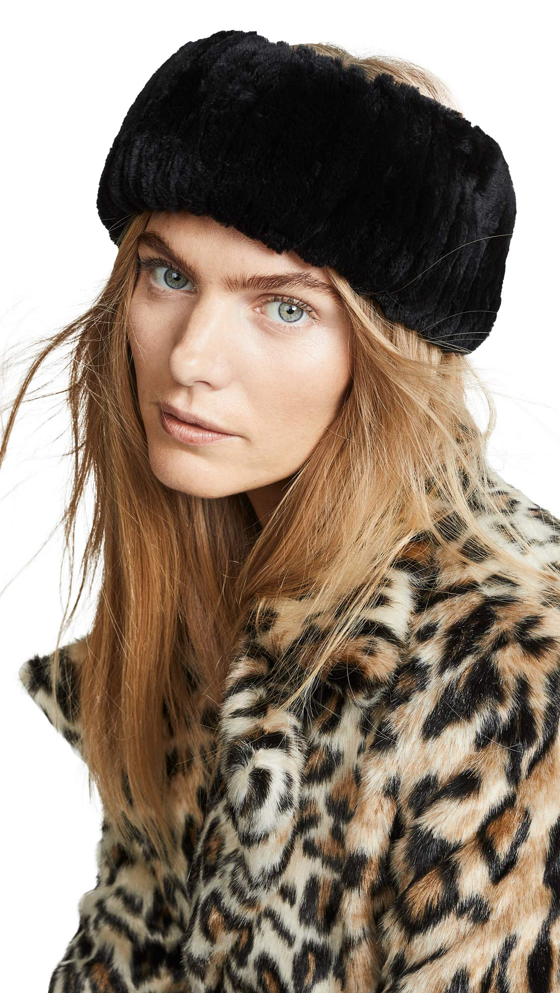 Adrienne Landau Women's Rex Rabbit Fur Headband, Black, One Size by Adrienne Landau