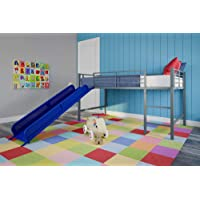 DHP Junior Twin Metal Loft Bed with Slide, Multifunctional Design
