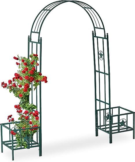 Relaxdays, Verde Pérgola de jardín para maceteros, Soporte para trepadoras, Metal, 226 x 204 x 45 cm