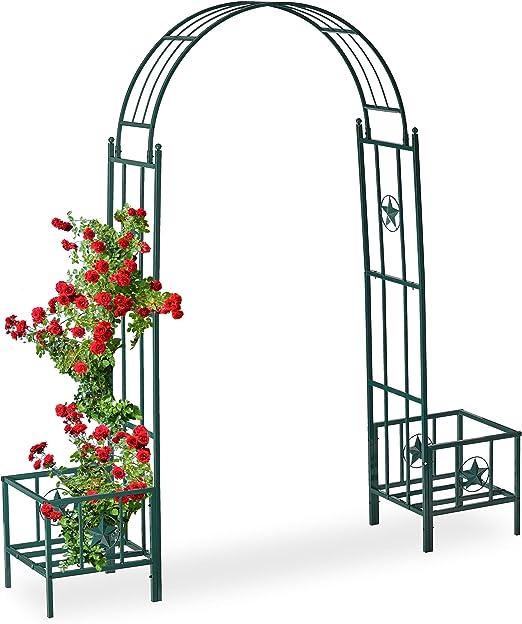 Relaxdays, Verde Pérgola de jardín para maceteros, Soporte para trepadoras, Metal, 226 x 204 x 45 cm: Amazon.es: Jardín