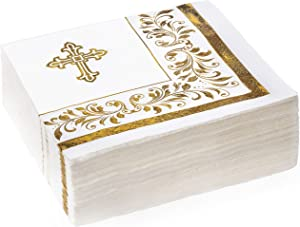 "50 Cocktail Gold Foil Napkins | 3-Ply Small Beverage Napkins with Decorative Accents | 5"" x 5"" for Baby Shower, Wedding, Bachelorette Party and Baptism (Religious Napkins)"