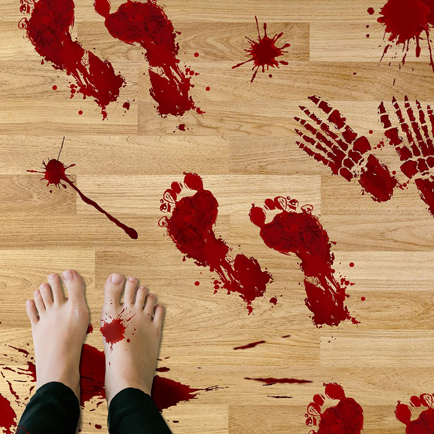TEEHOME Bloody Footprints Floor Clings (42pcs - 8 Sheets) | Vampire Zombie Party Halloween Creepy Decorations Decals Stickers Supplies | Best Scare Halloween Decorations for Floor and Wall