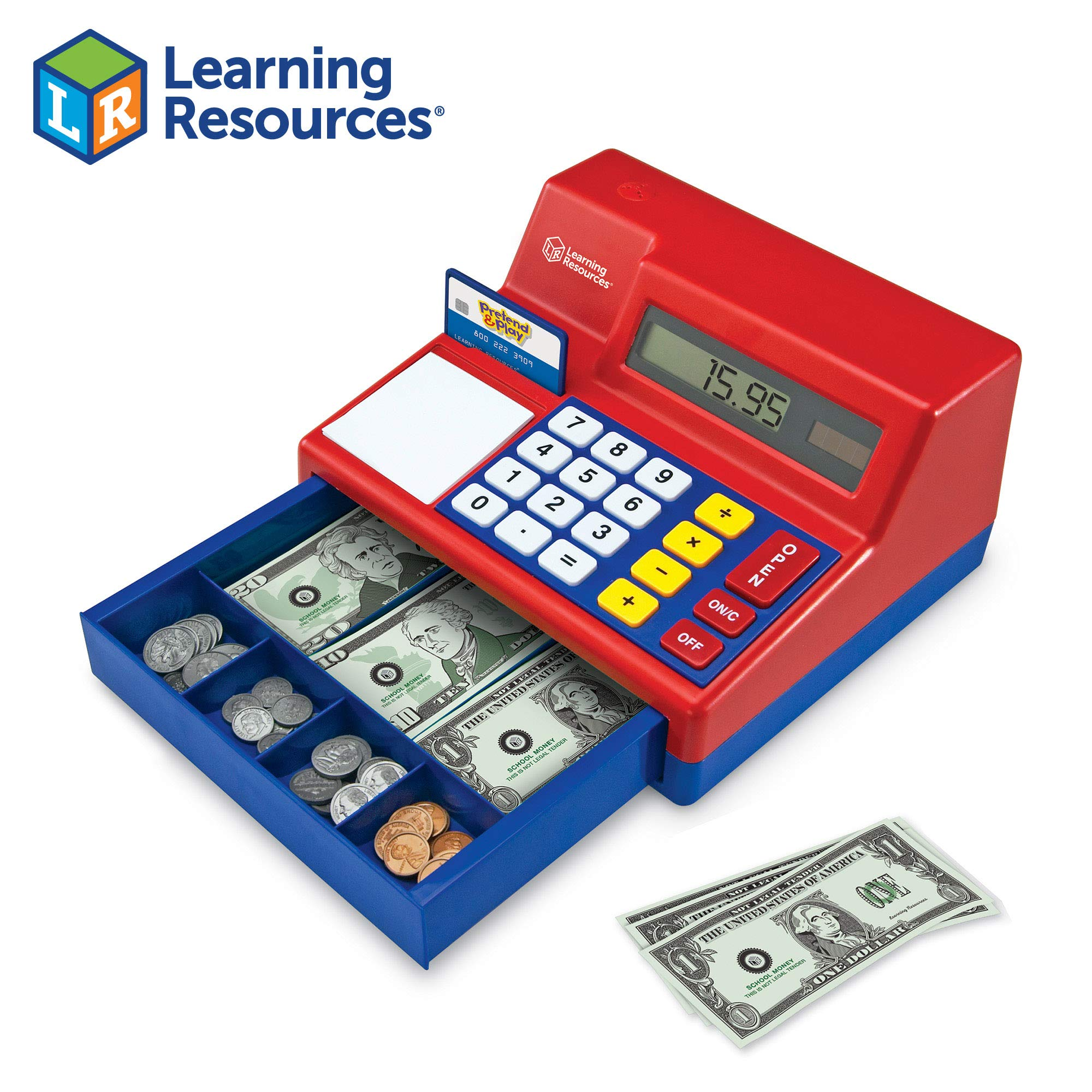 Learning Resources Pretend & Play Calculator Cash Register, Classic Counting Toy, 73 Pieces, Ages 3+ by Learning Resources