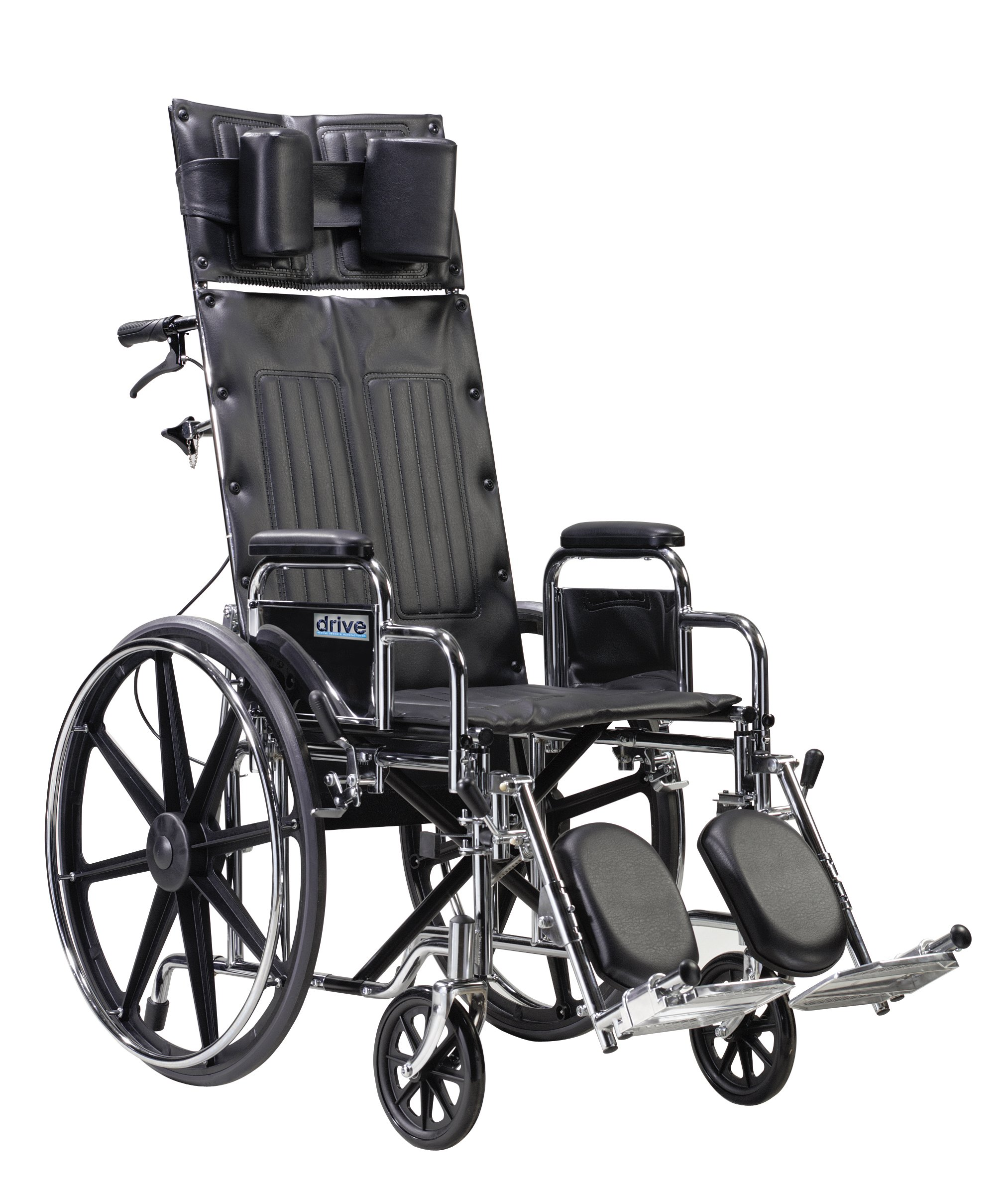 Drive Medical Sentra Reclining Wheelchair with Various Arm Styles and Elevating Legrest, 22''