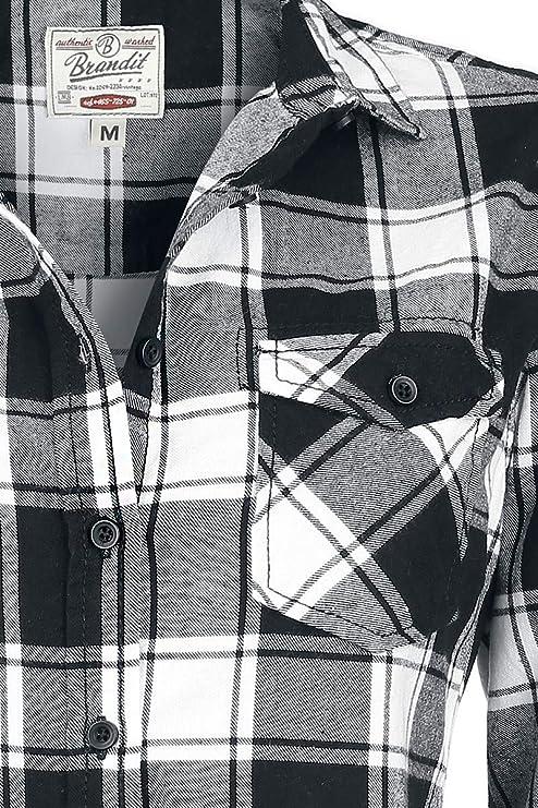 a143b8fcf194 Brandit Camisa a Cuadros de Franela Amy Camisa de Franela Negro-Blanco XXL