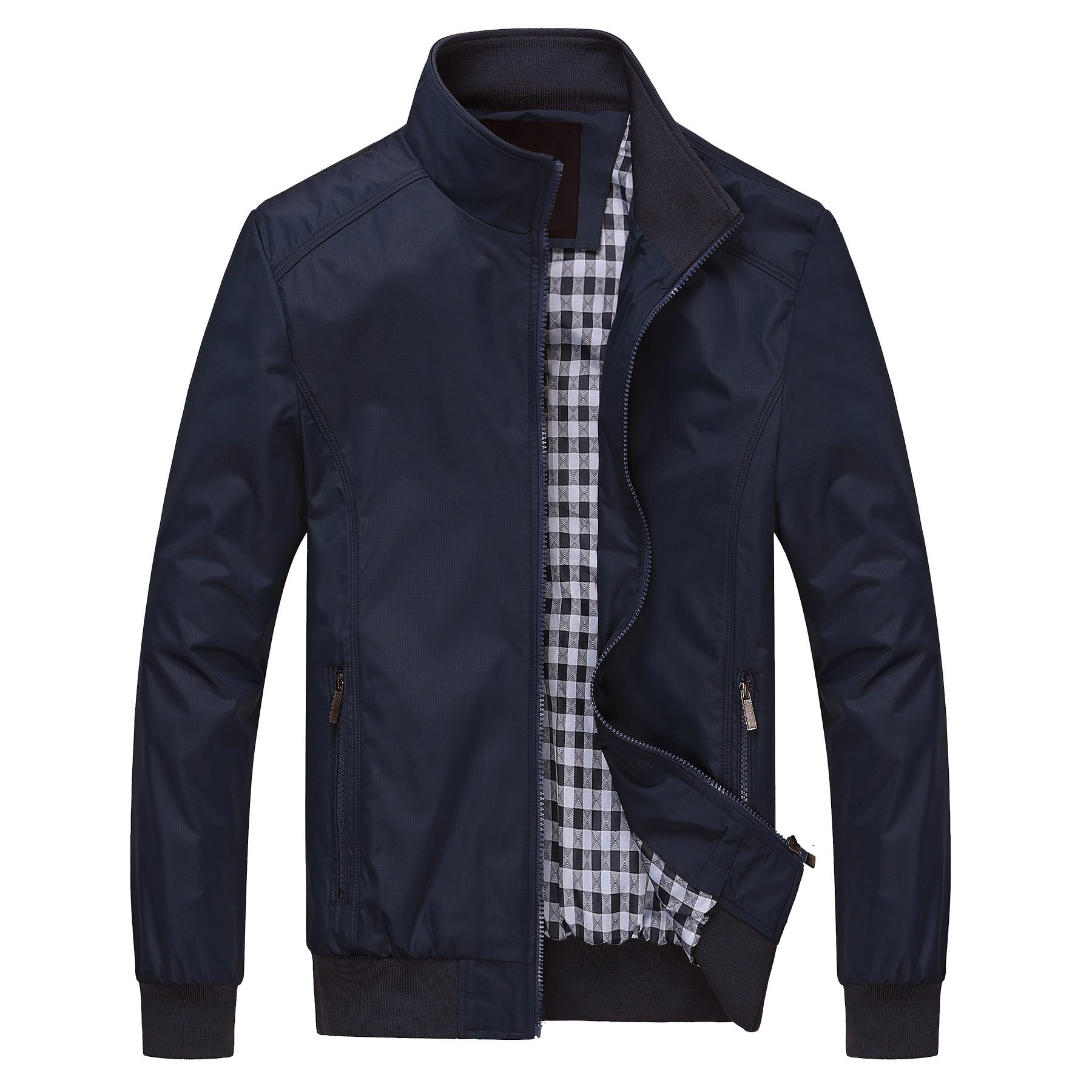 ROMINTON Men's Windproof Jacket Motorcycle Windbreaker Casual Business Jacket for Men
