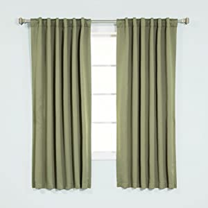 "Best Home Fashion Thermal Insulated Blackout Curtains - Back Tab/ Rod Pocket - Olive - 52""W x 63""L - (Set of 2 Panels)"