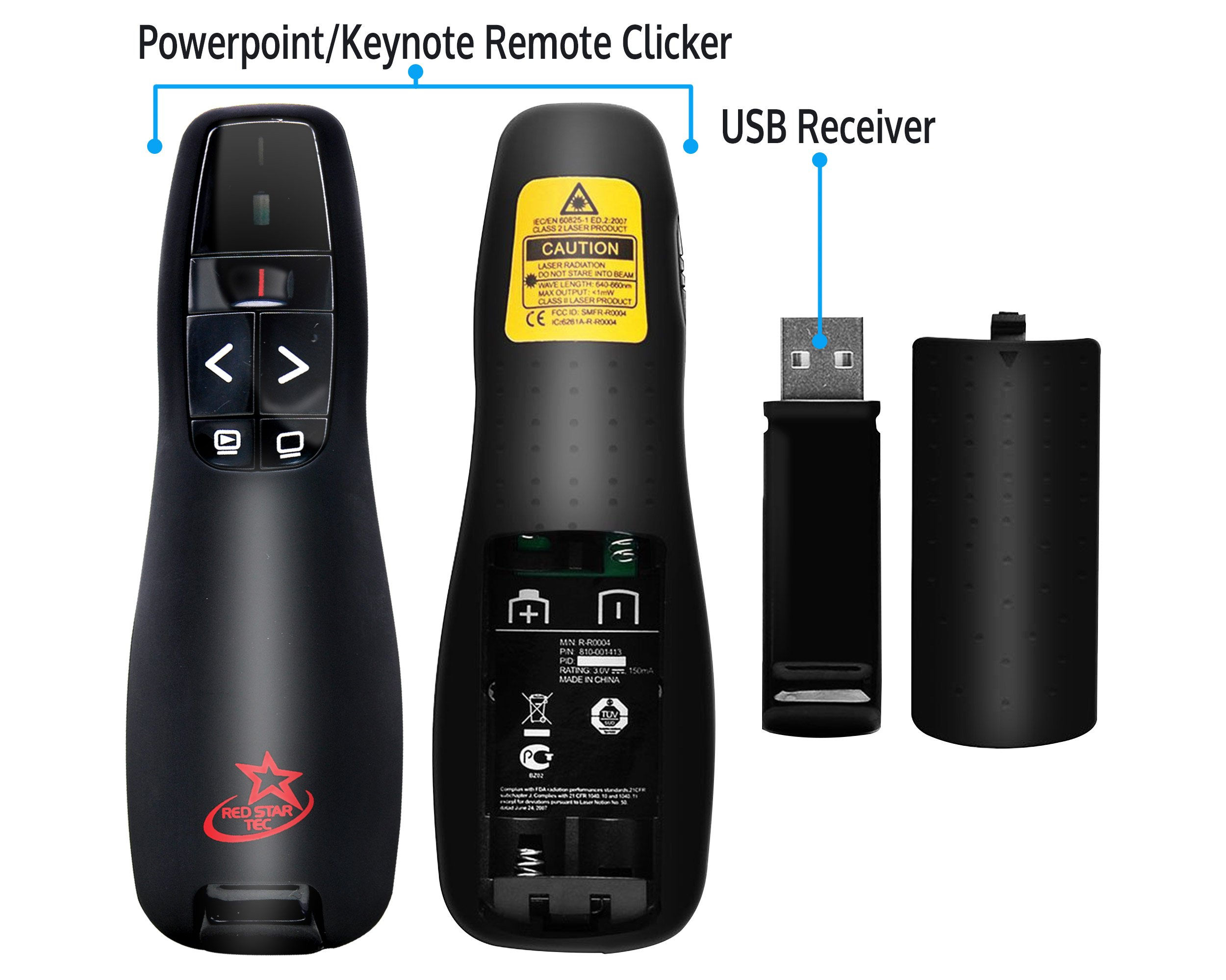 Red Star Tec Wireless Powerpoint and Keynote Presentation Remote Clicker PR-819 (Black, 1 Pack)