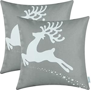 CaliTime Pack of 2 Soft Canvas Throw Pillow Covers Cases for Couch Sofa Home Decoration Christmas Holiday Reindeer with Stars Print 18 X 18 Inches Medium Grey
