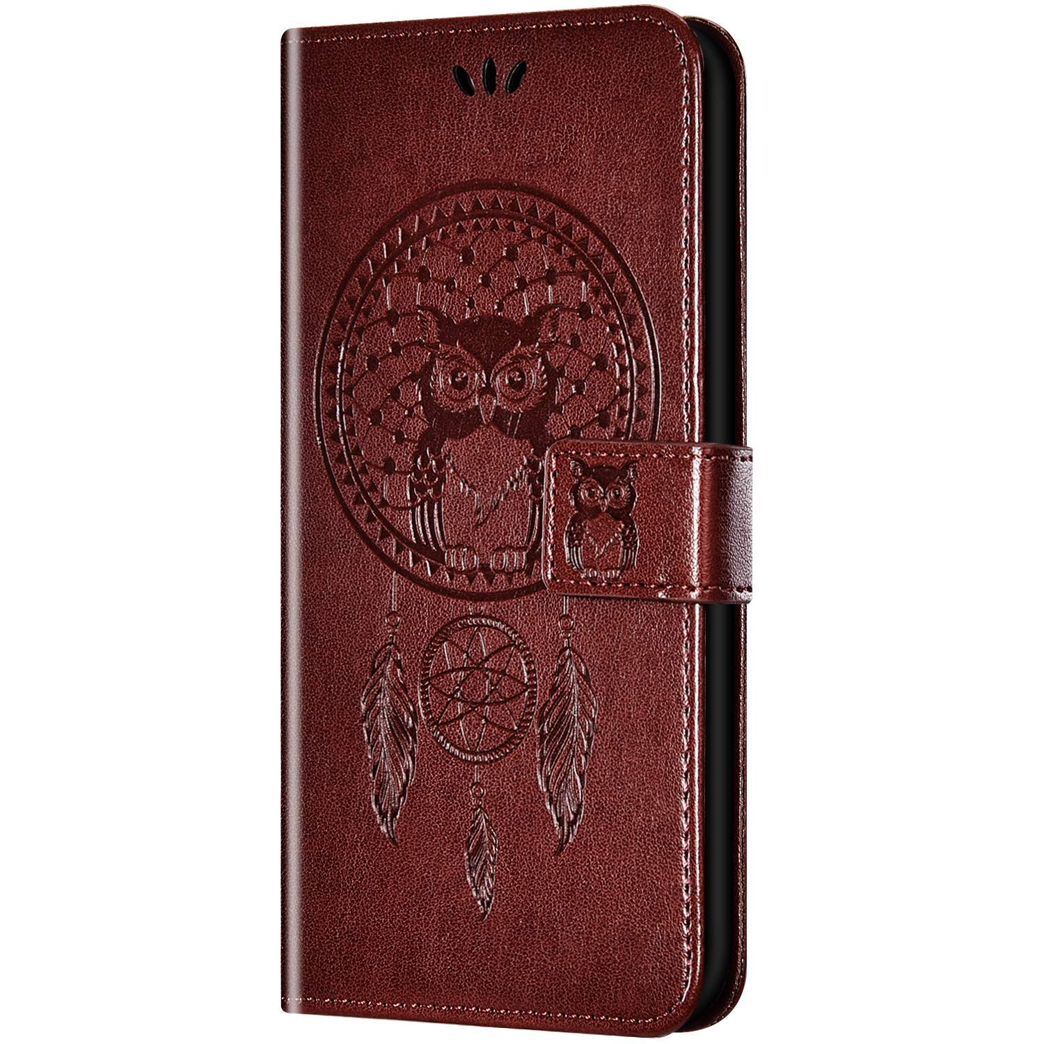 Case for Huawei Honor 8 Flip Case Ultra Slim PU Leather Wallet with Card Holder/Slot and Magnetic Closure Shockproof Cartoon Animal Owl Embossed Protective Cover for Huawei Honor 8,Brown by ikasus