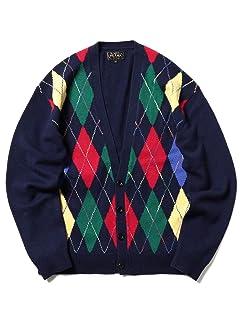 Wool Argyle V-neck Cardigan 11-15-1041-048: Navy