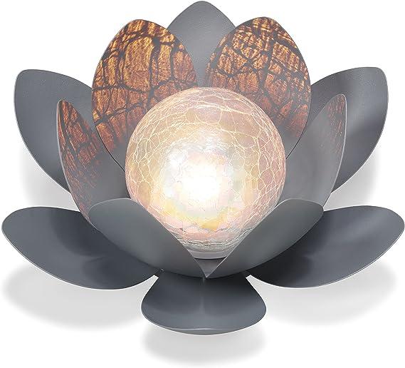 2x Glas Lampen Lotus Blumen Solar Leuchten Garten Seerosen Strahler Außen Deko