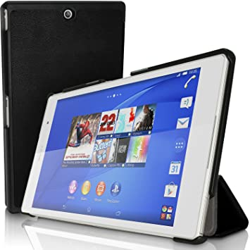 igadgitz Negro Funda Carcasa PU Cuero para Sony Xperia Z3 Tablet Compact SGP611 + Protector Pantalla