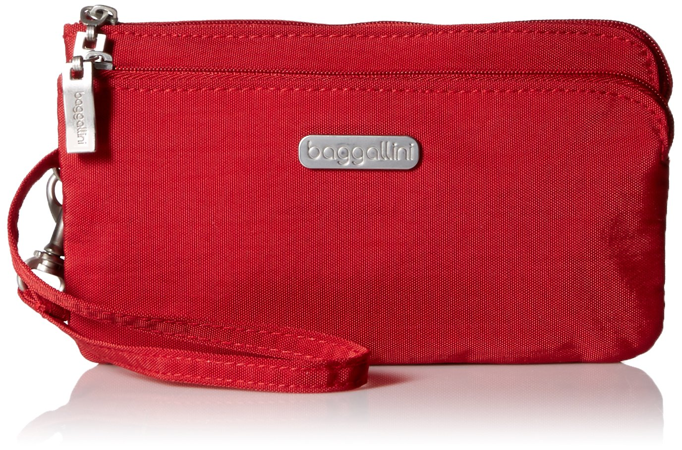 Baggallini Double Zip Wristlet with RFID Protection - Lightweight Wristlet with Zipped Compartments for Smart Phones and More by Baggallini