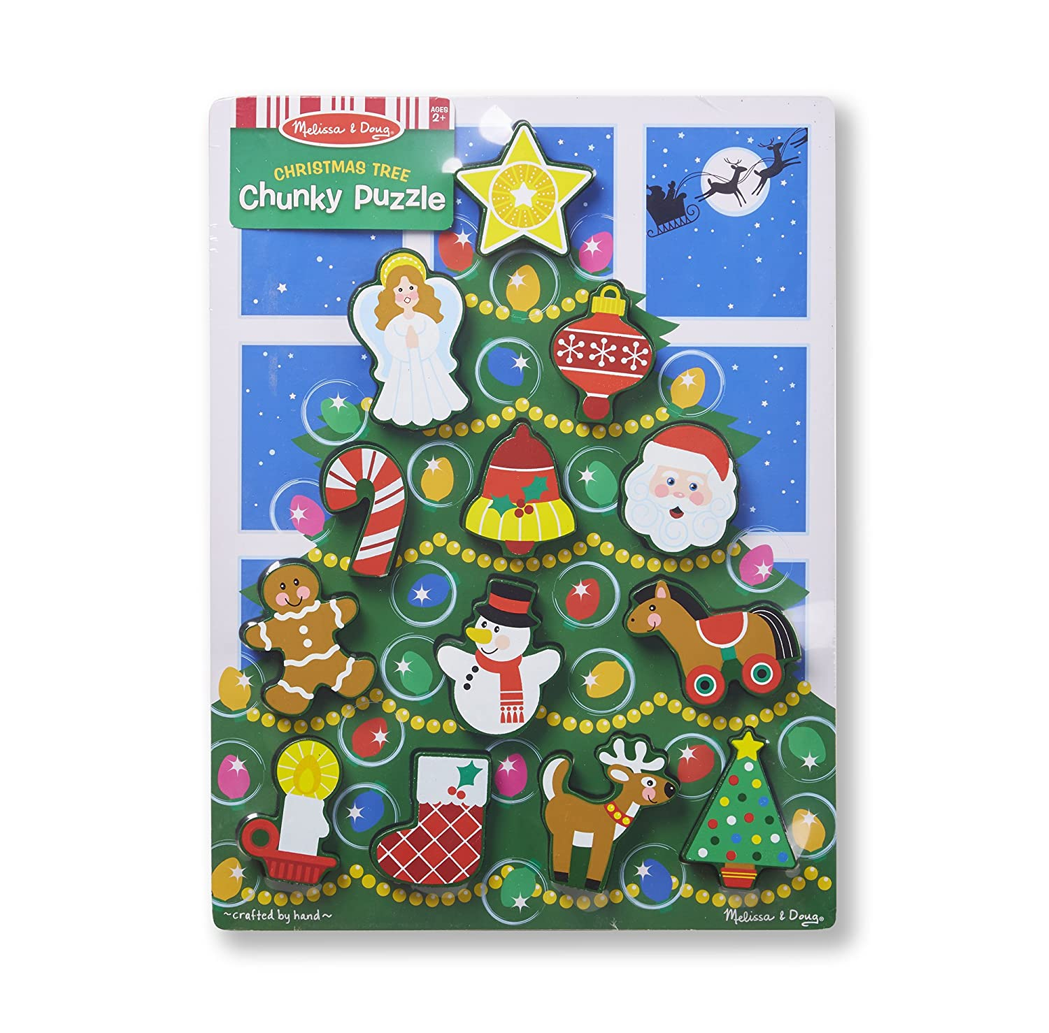 Amazon.com: Melissa & Doug Holiday Christmas Tree Wooden Chunky ...