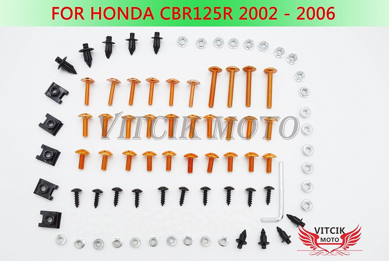 VITCIK Kit Completo de Tornillos y Pernos de Carenado para Honda CBR125R 2002 2003 2004 2005 2006 CBR 125 R 02 03 04 05 06 Clips de Sujeció n en Aluminio CNC de La Motocicleta (Rojo & Plata)