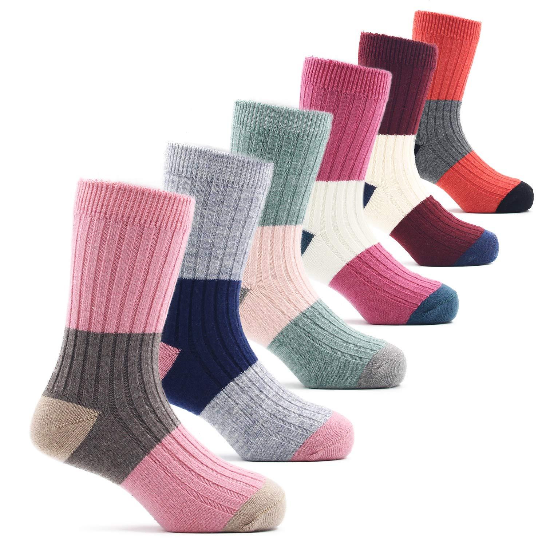 Big Girls Thick Wool Socks Kids Winter Warm Crew Seamless Socks 6 Pack 8-10 Years
