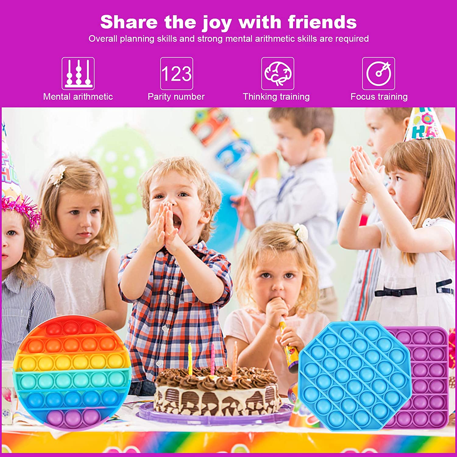 Squeeze Fidget Sensory Toy for Kids Blue+Purple FJANZON Silicone Autism Special Needs Anxiety Stress Reliever Pop Bubble Sensory Toy 2PCS Family and Friends Adult