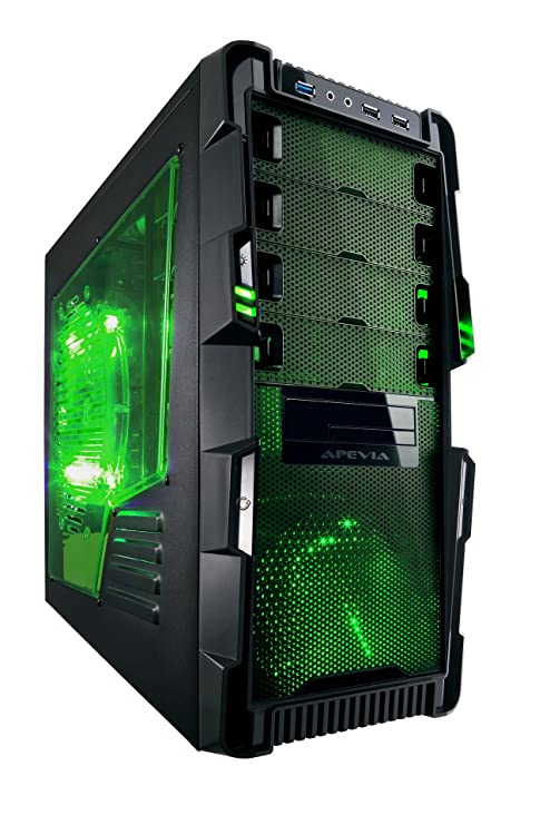 Apevia X-HERMES-GN ATX Mid Tower PC Gaming Case with 5 Fans, Large Green Tinted Side Window, Front USB2.0/USB3.0/Audio Ports, Hard Drive Hot-Swap Bay ...