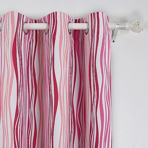 Deconovo Blackout Room Darkening Bedroom Pink Vibrant Waves Modern Curtains, 42×95, Red