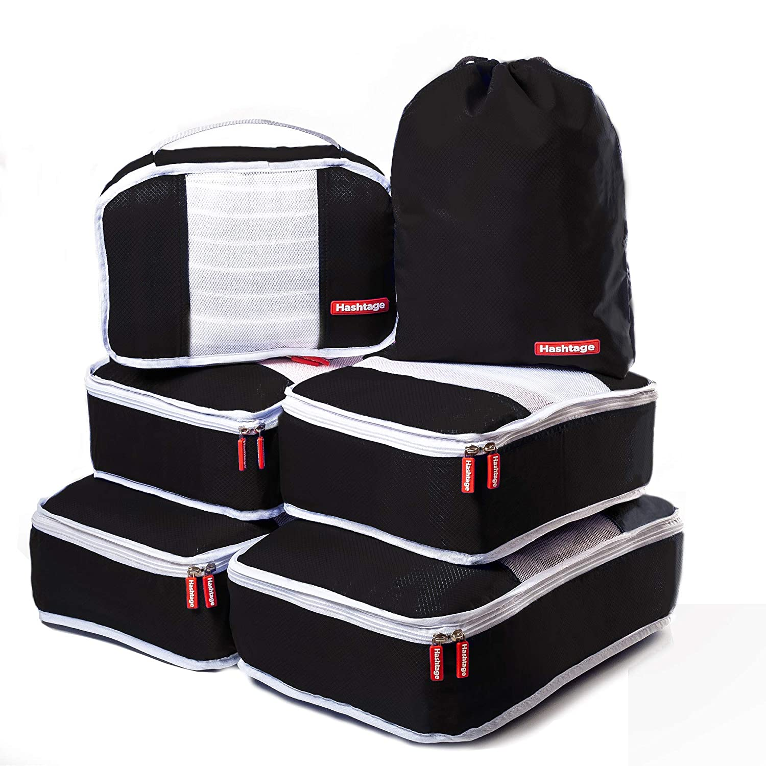 b23d0fc2a94d Hashtage® Packing Cubes, 6 Set Packing Bags, Lightweight Packing ...