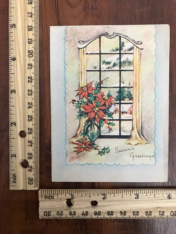 Amazon Vintage Greeting Card Merry Christmas Poinsettia Window