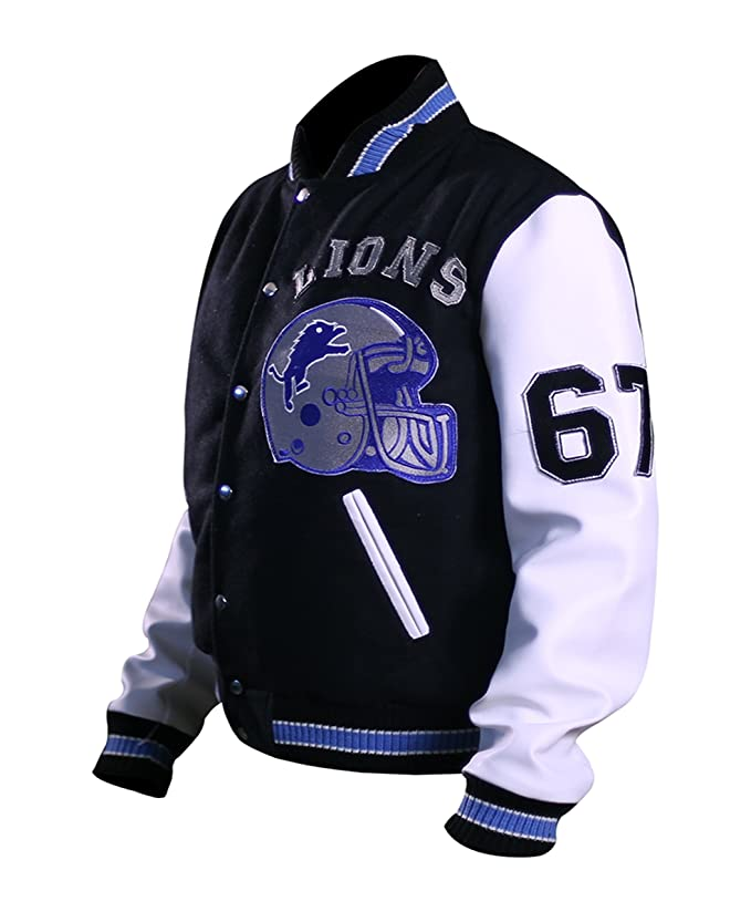 Beverly Hill Cop Detroit Lions Letterman Real Wool Jacket Real Leather Sleeves Jacket