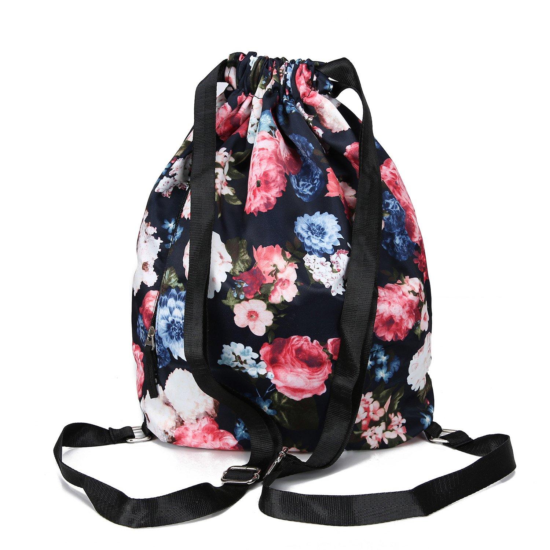 MORHUA Backpack Drawstring Bag Gymbag Drawstring Backpack Sports Travel Yoga Gymsack (Dark Orchid Pocket) by MORHUA (Image #1)