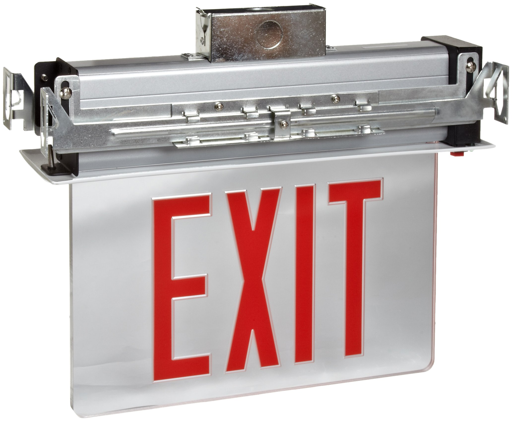 Morris Products LED Exit Sign - Recessed Mount Edge - Red on Clear Panel, White Housing - Compact, Low-Profile Design - Single Sided Legend - Energy Efficient, High Output - 1 Count