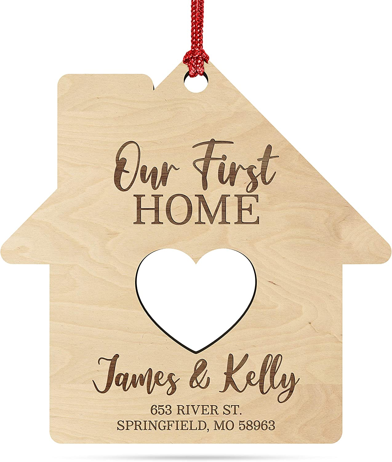 Our First Home, Personalized New Home Christmas Ornament w/Your Address & Names, Custom Laser Engraved 4
