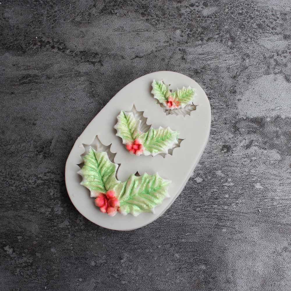 Resin Epoxy Christmas Holly Silicone Mold,Jewelry Polymer Clay Crafting Pendant Making DIY Fashion Decoration Tools Fondant Cake Mold