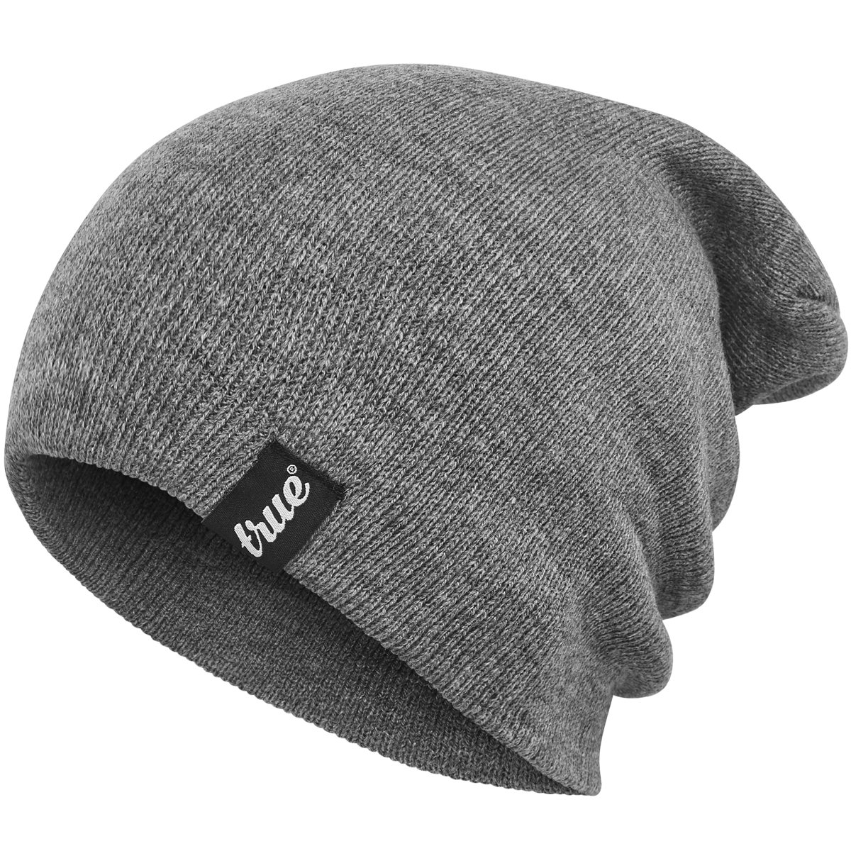 d805bddb673 TRUE VISION Mens Beanie Hat - One Size Soft Knitted Acrylic Unisex Slouch  Toque product image