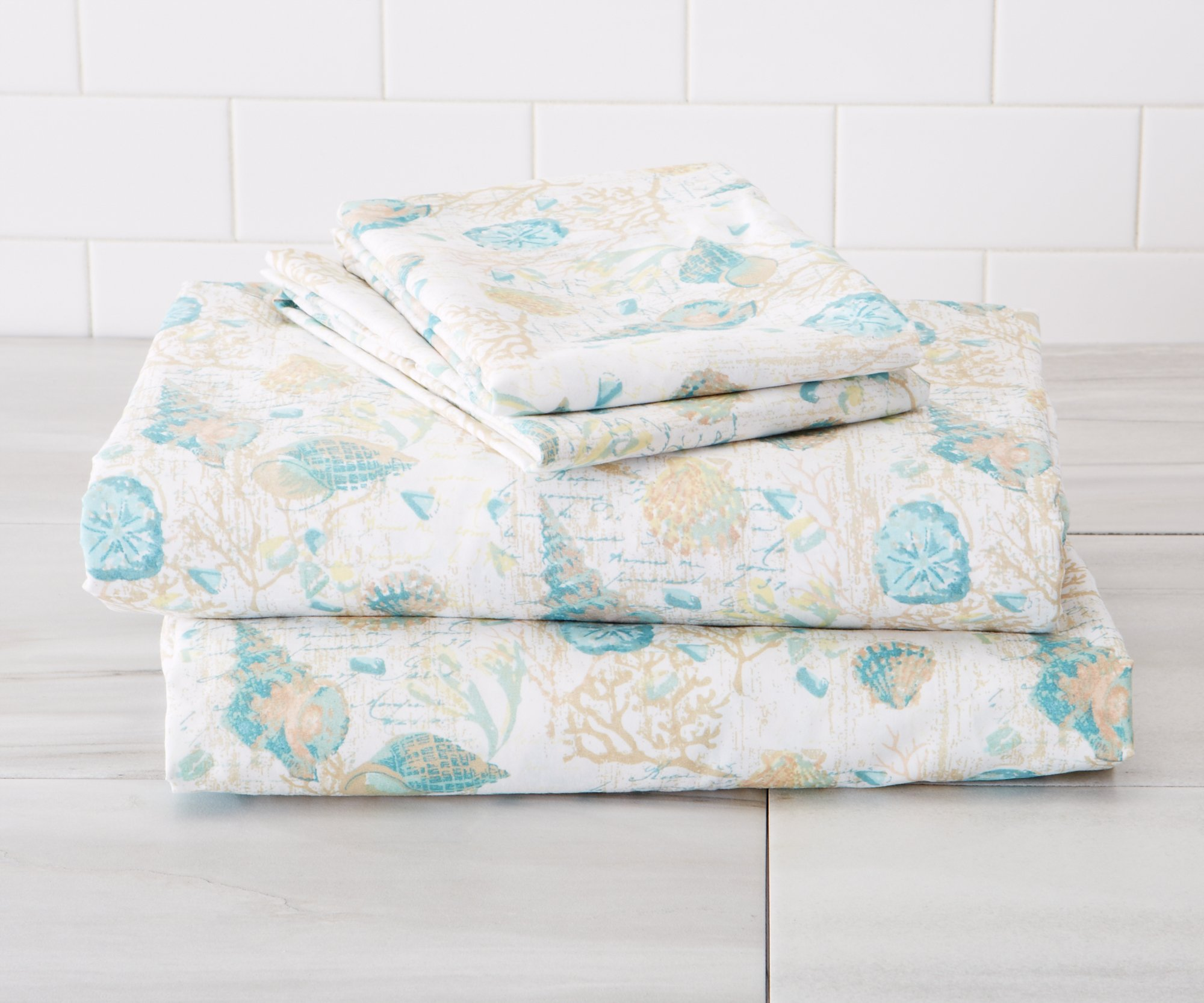 Great Bay Home Ultra-Soft Double-Brushed Coastal Printed Microfiber Sheet Set. Beautiful Patterns, Comfortable, All-Season Bed Sheets. By Brand. (Full, West Sands)