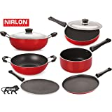 Nirlon Non-Stick Aluminium Cookware Set, 6-Pieces, Red & Black